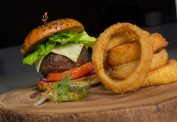In Room Dining Steak Burger with Onion Rings