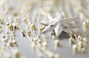 Silver and gold Christmas decorations.
