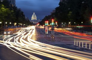 The Capitol Building, Washington D.C. at night with car lights
