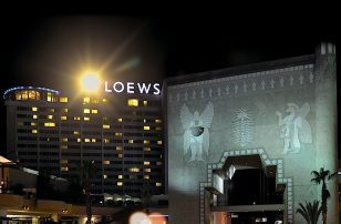 Exterior at Night | Hollywood Highland | Loews Hollywood Hotel